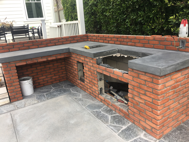 Brick, Stone, Concrete Accents for Builtin Grill