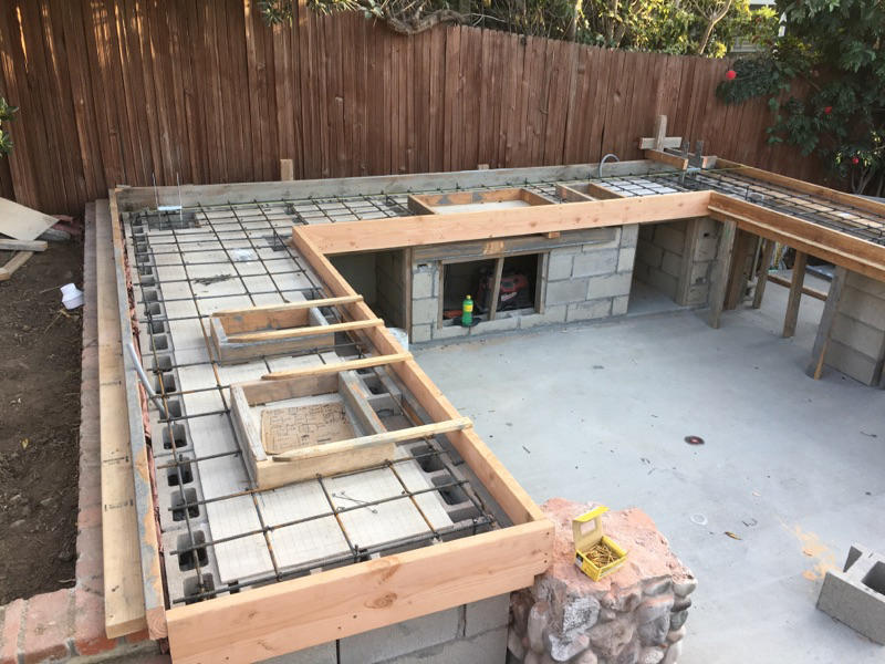 Framing for Concrete Counters of Outdoor Kitchen